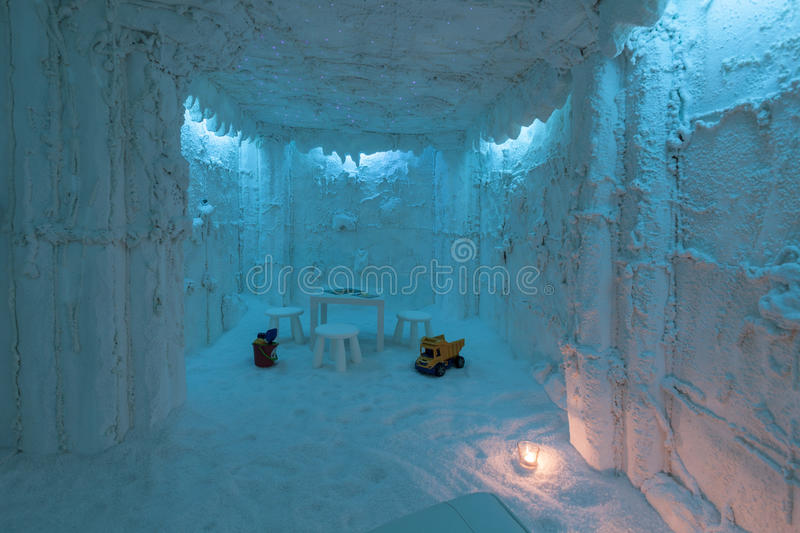 Salt SPA in Slovenia for kids. Salt cave SPA center in Slovenia with a kid toys royalty free stock photos