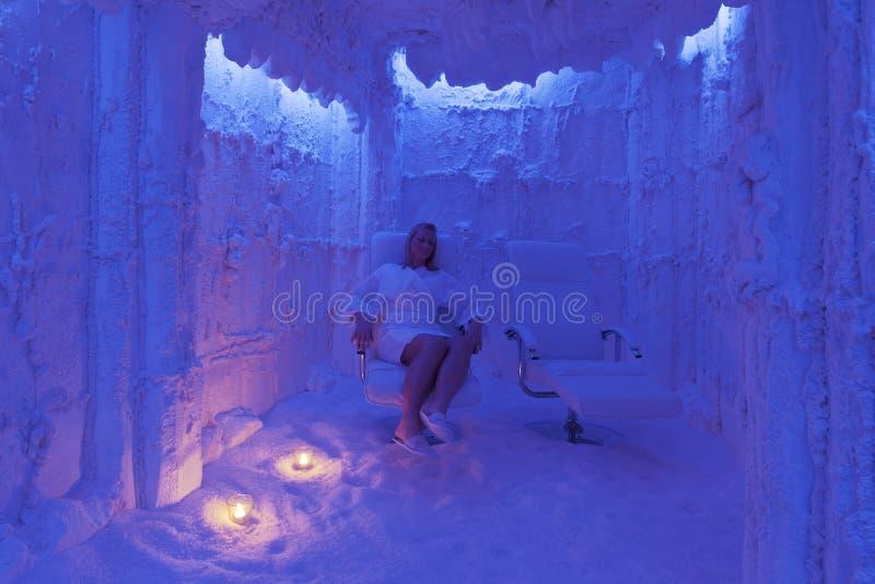 Salt SPA in Slovenia with nice blond girl. Salt cave SPA center in Slovenia royalty free stock photos