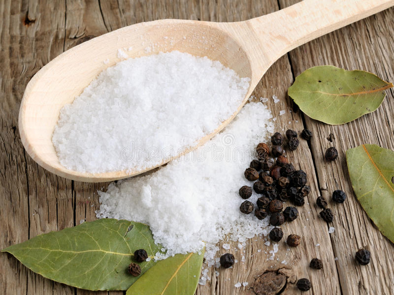 Download Salt in spoon stock photo. Image of culinary, board, nobody - 24861898