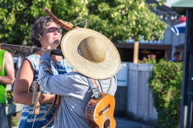 Street musician in Salt Spring. royalty free stock photography