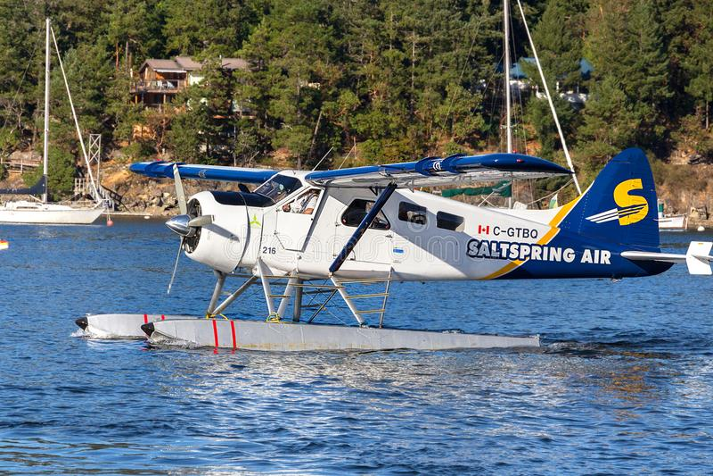 A seaplane at Ganges Harbour marina, Salt Spring Island. stock photos