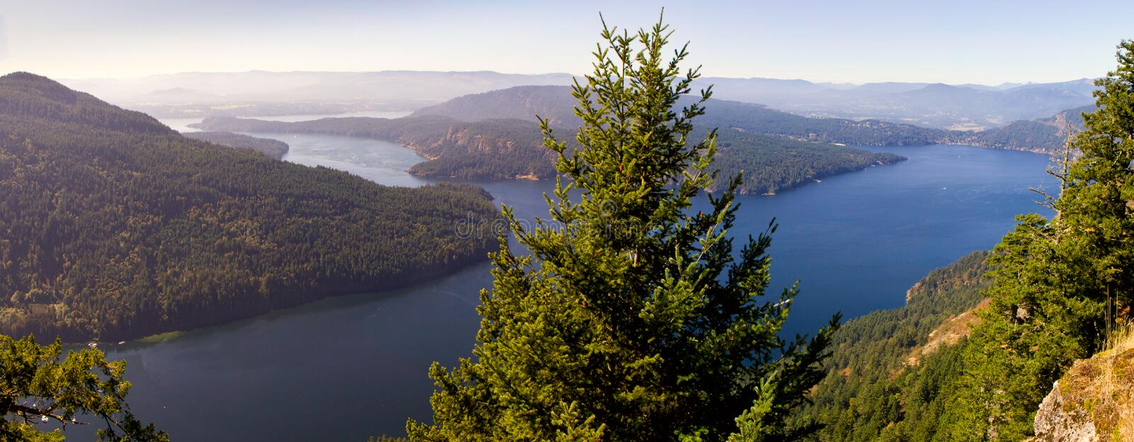 Salt Spring Island. Panoramic View from Mount Maxwell view point (Salt Spring Island, Canada BC) to the north royalty free stock images