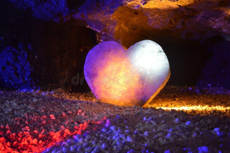 Salt and stone heart, nemocon salt mine, colombia royalty free stock photo