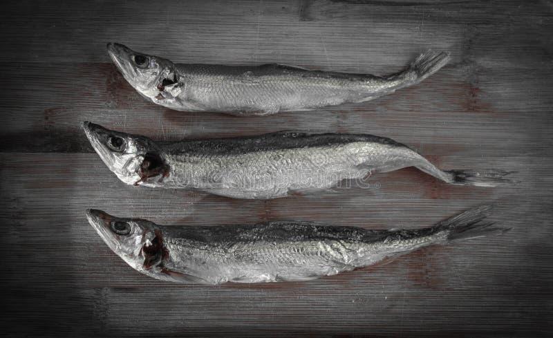 Salt torr flodfisk på en trämäktig bakgrund royaltyfri foto