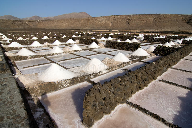 Salt will be produced in the old historic saline. In Janubio, Lanzarote stock photography