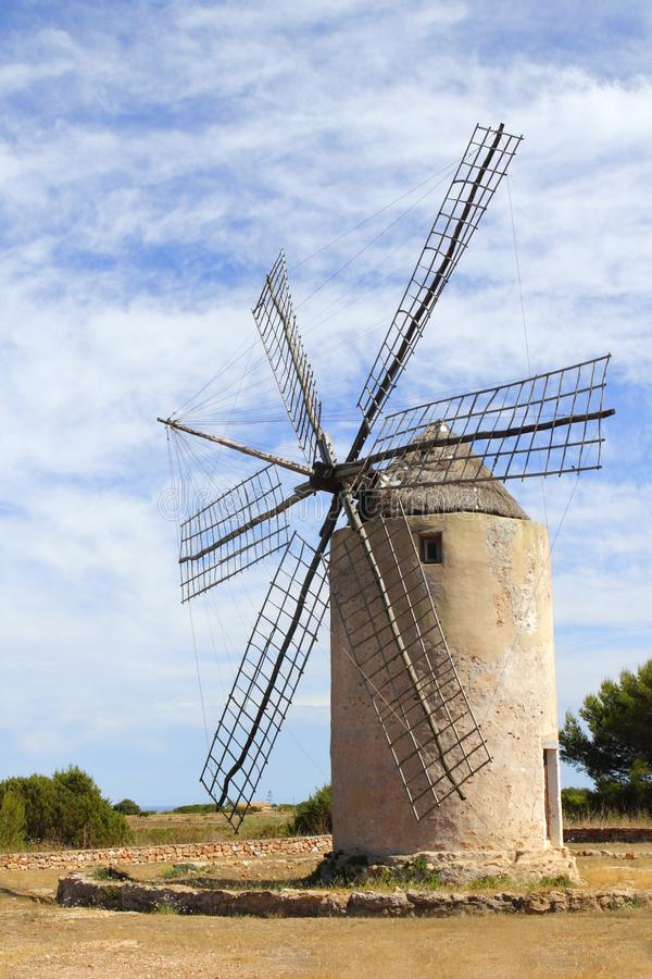Salt windmill traditional Formentera Ibiza royalty free stock images