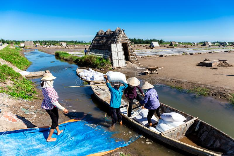 Salt workers transporting salt from field to boat. Location: Hai Hau, Namdinh, Vietnam royalty free stock photography