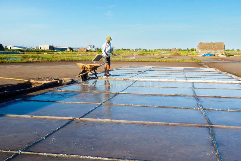 Salt workers working on salt fields. This location used to be the largest salt production site in Northern Vietnam but now almost stock photography