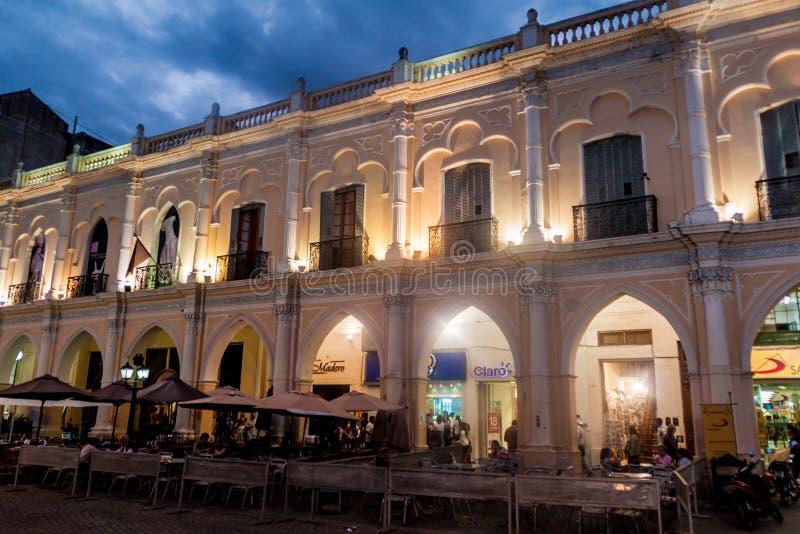 SALTA, ARGENTINA - APRIL 8, 2015: Night view of an archaeological museum Museo de Arqueologia de Alta Montan stock images