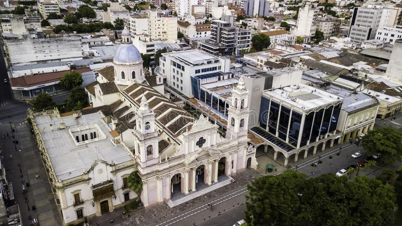 Salta/Salta/Argentina - 01 01 19: Arquidiocese de Salta Catedral ornamentado do século XIX argentina fotografia de stock royalty free