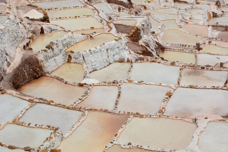 Salta avdunstningdamm Maras sakral dal Cusco region peru arkivfoton