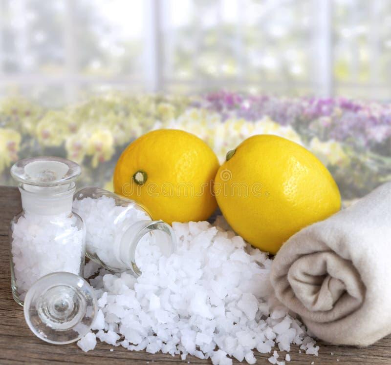 Salta citron och hav - skönhetbehandling med organiska skönhetsmedel med citroningredienser på wood bakgrund för kropp skurar och arkivbilder