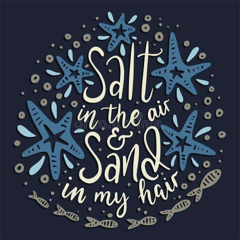 Salta i luften och sanden i mitt hår stock illustrationer