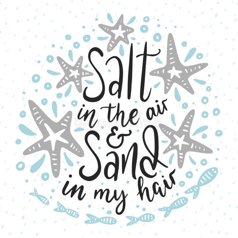 Salta i luften och sanden i mitt hår royaltyfri illustrationer