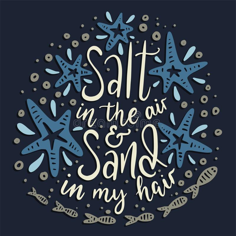 Salta i luften och sanden i mitt hår vektor illustrationer
