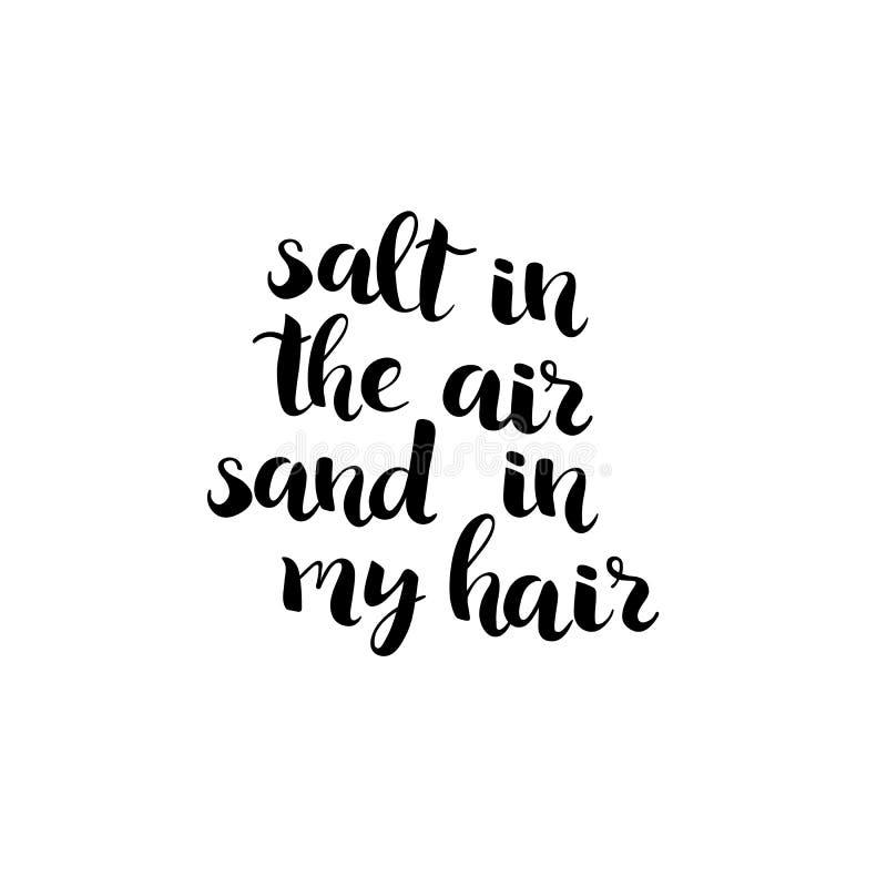 Salta i luften, sand i min hårbokstävervektor royaltyfri illustrationer