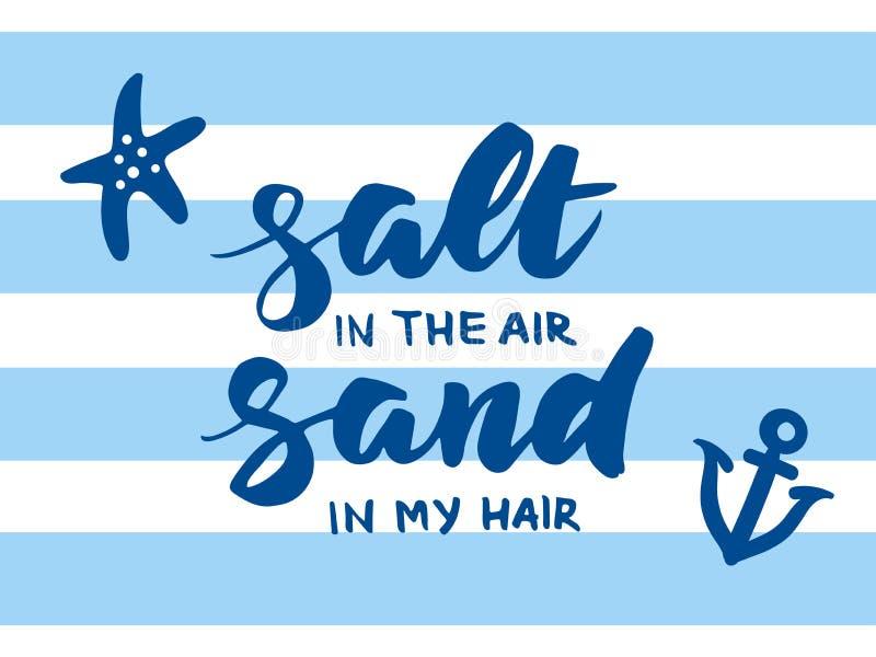 Salta i luften, sand i mitt hårsommarkort royaltyfri illustrationer