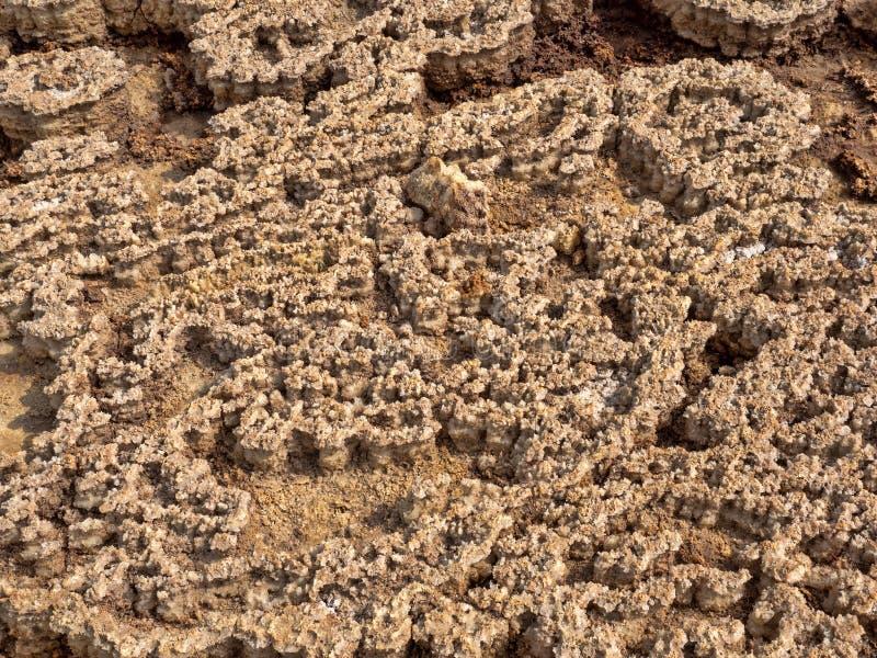 Salta kristaller i den Danakil fördjupningen för att skapa en oerhörd variation av färger ethiopia arkivfoton
