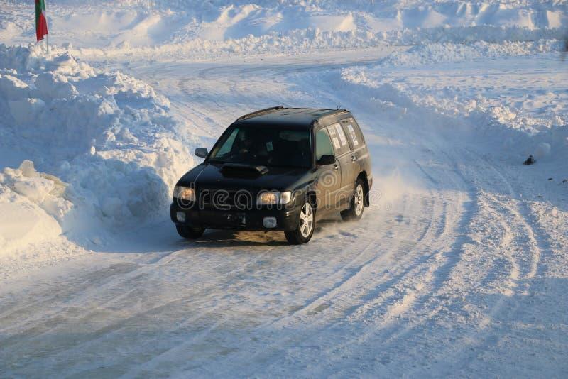 SALTAC-KOREM,俄罗斯- 2018年2月11日:冬天车展modif 库存图片