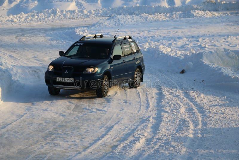 SALTAC-KOREM,俄罗斯- 2018年2月11日:冬天车展modif 免版税库存图片
