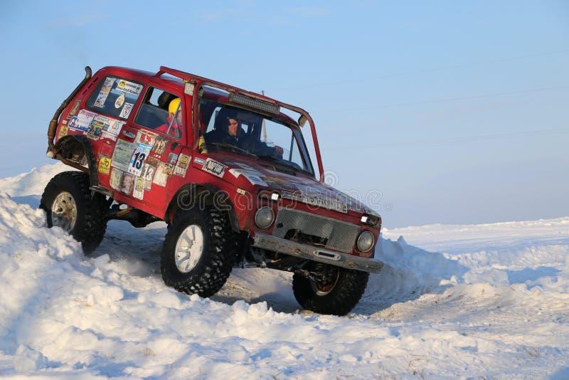 SALTAC-KOREM,俄罗斯- 2018年2月11日:冬天车展modif 库存照片