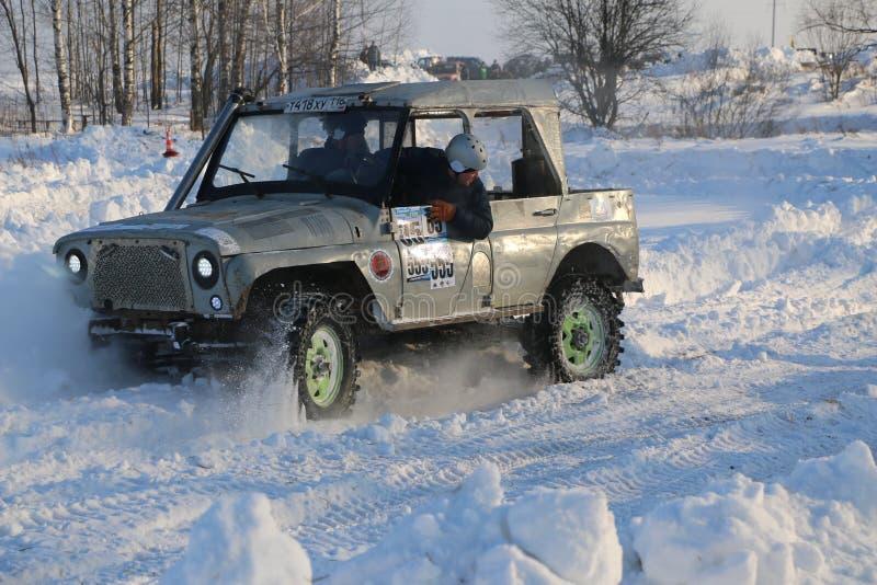 SALTAC-KOREM,俄罗斯- 2018年2月11日:冬天车展modif 免版税图库摄影