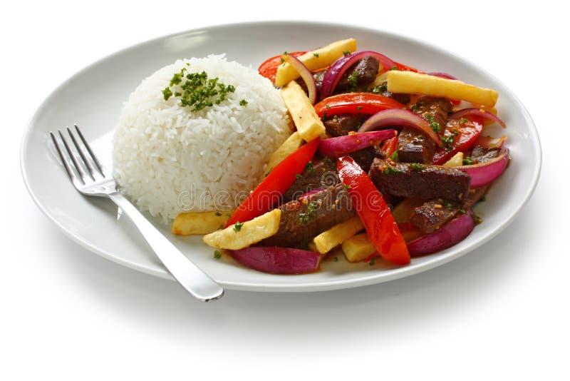 Saltado van Lomo, Peruviaanse keuken royalty-vrije stock fotografie