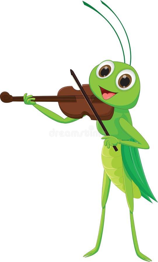 Saltamontes lindo con un violín libre illustration