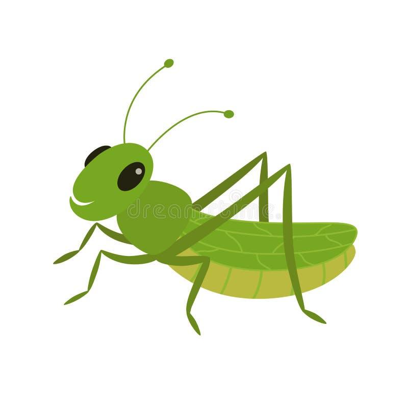Saltamontes verde en un fondo blanco ilustración del vector