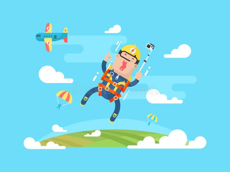 Saltando em queda livre o esporte liso ilustração do vetor