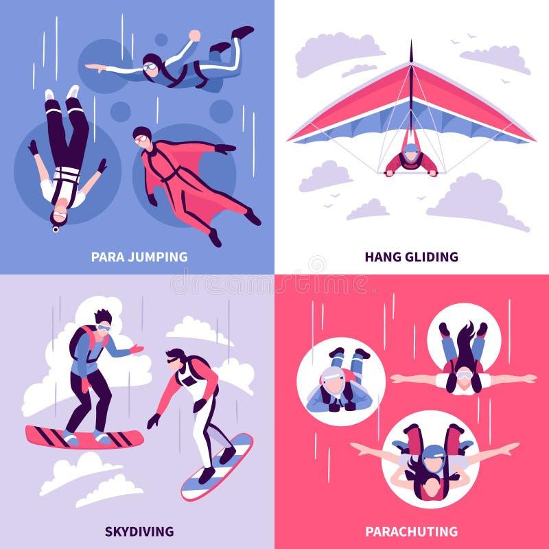 Saltando em queda livre os ícones do conceito ajustados ilustração royalty free