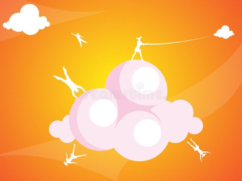 Saltando sulle nubi fotografia stock libera da diritti