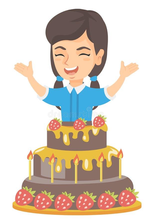 Saltar caucasiano pequeno da menina de um grande bolo ilustração stock