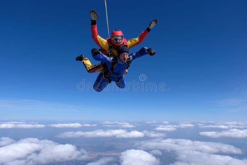 Saltar em queda livre em tandem Dois homens fortes est?o no c?u fotos de stock royalty free