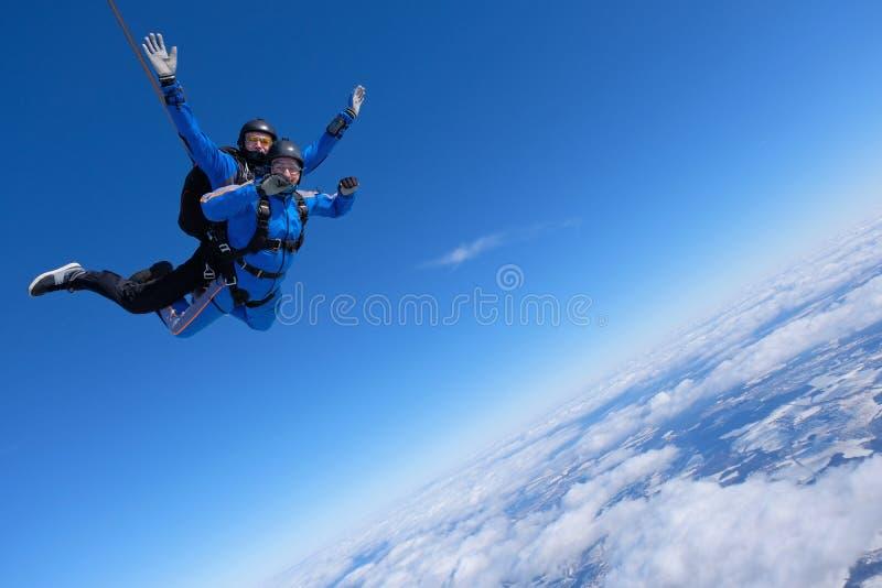 Saltar em queda livre em tandem Dois indivíduos estão no céu azul fotografia de stock royalty free