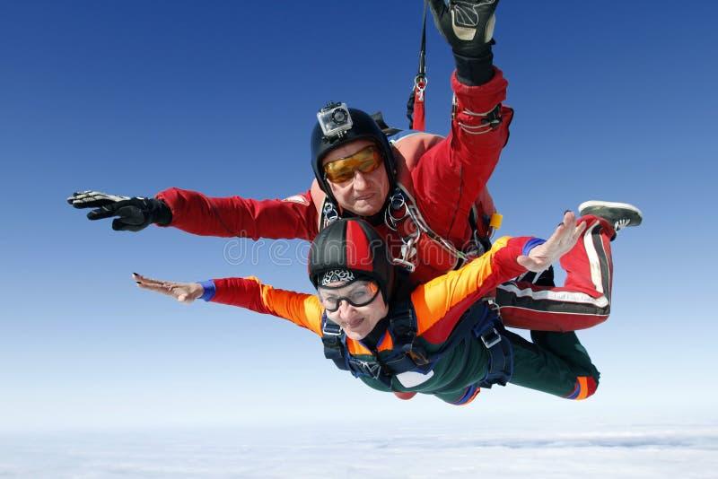 Saltar en caída libre la foto. En tándem. fotos de archivo