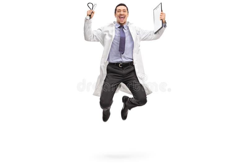Saltar novo do doutor da alegria fotografia de stock royalty free