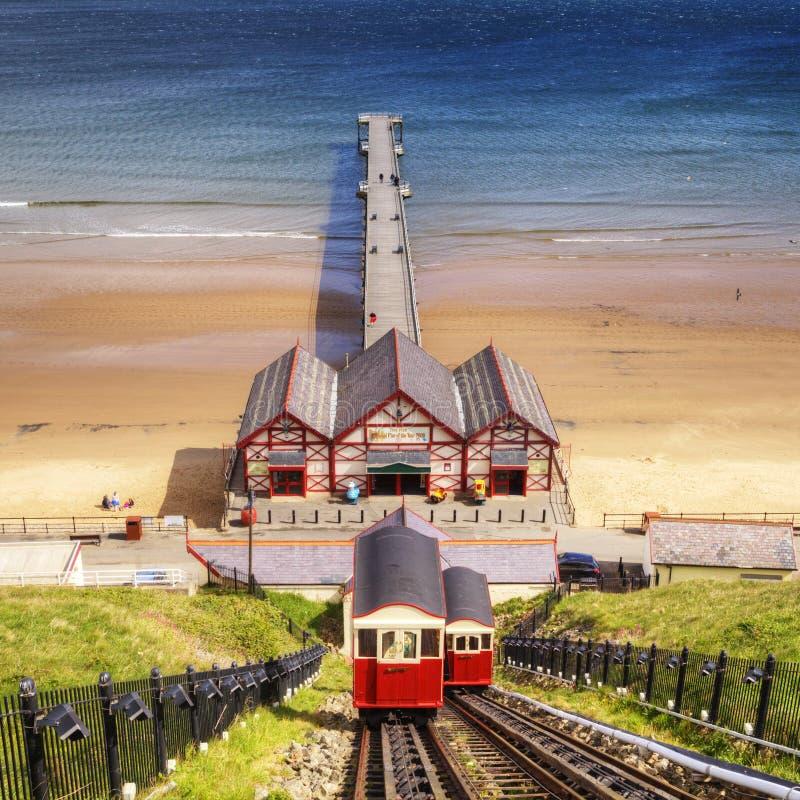 Saltburn durch das Meer Cliff Railway lizenzfreie stockbilder
