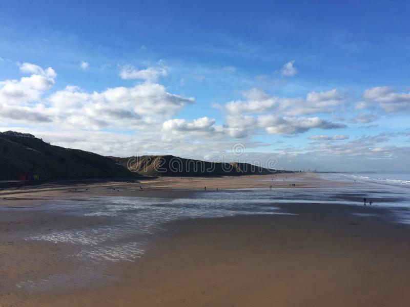 Saltburn plaży północny wschód Anglia zdjęcia stock