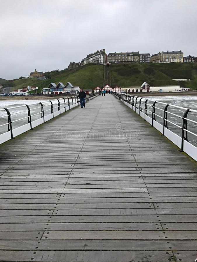 View of Saltburn from the Pier at Saltburn by the Sea stock image