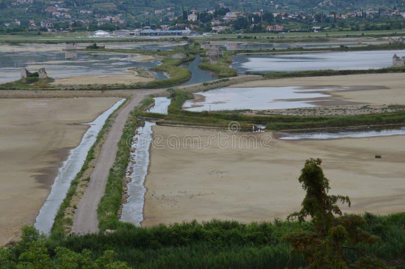 Saltdam av secovlje, Slovenien arkivfoton
