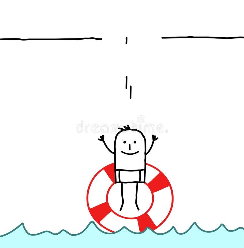 Salte em uma bóia ilustração do vetor