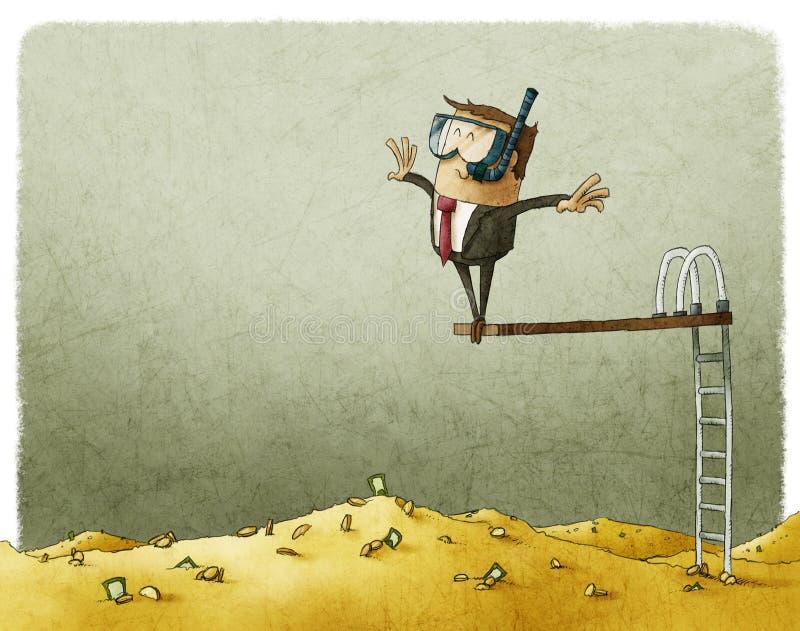 Salte em uma pilha de dinheiro grande ilustração do vetor
