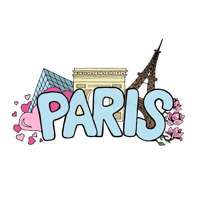 Salte en el bosquejo coloreado vector de París con las señales famosas libre illustration