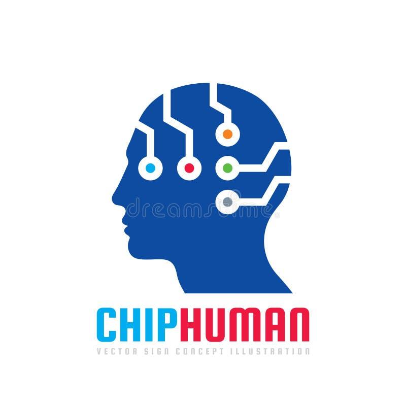 Salte la cabeza humana - vector el ejemplo del concepto de la plantilla del logotipo Muestra creativa de la tecnología futura Ico stock de ilustración