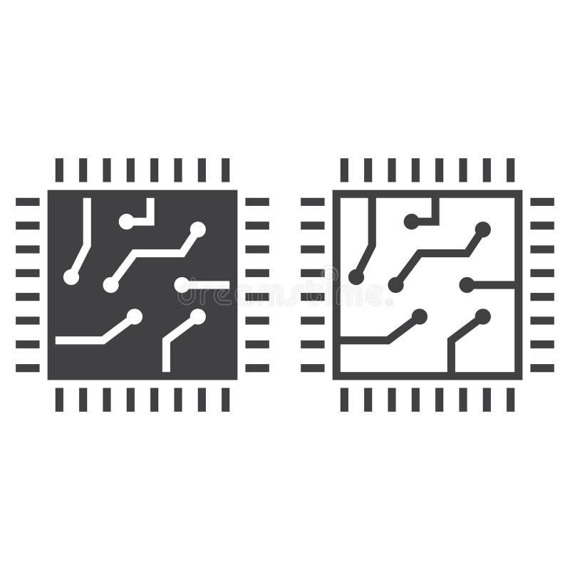 Salte la línea icono, el esquema del procesador y la muestra del vector del sólido, lineares stock de ilustración