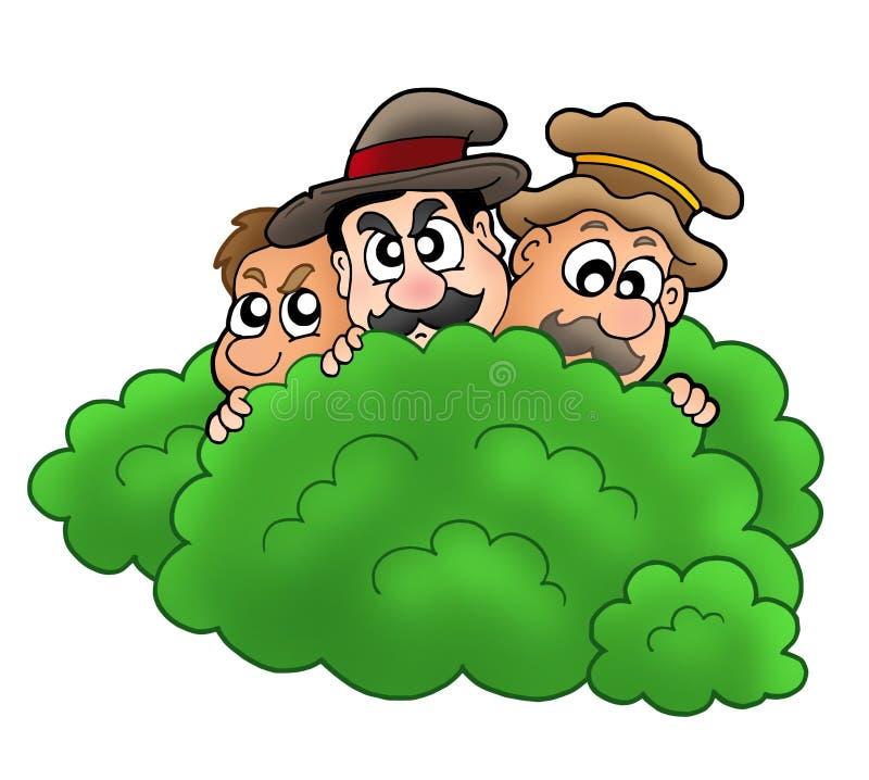 Salteadores dos desenhos animados atrás do arbusto ilustração royalty free