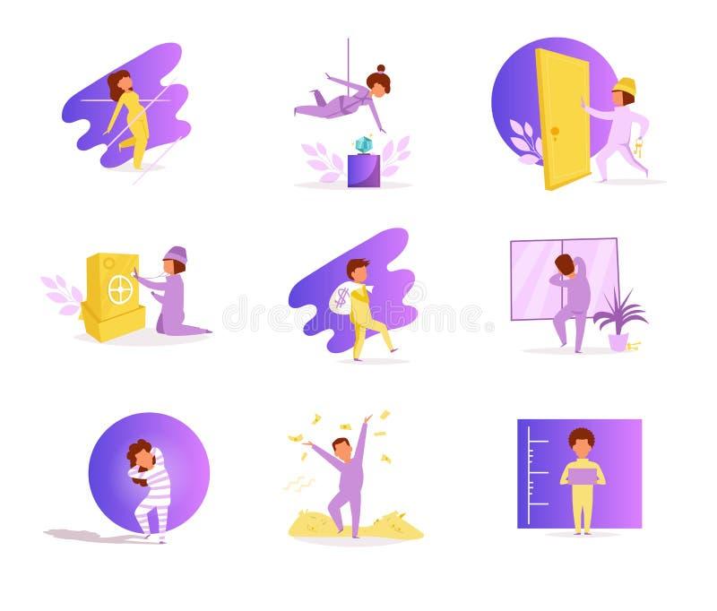 salteadores Vetor cartoon Violeta lisa isolada do caráter da arte ilustração royalty free