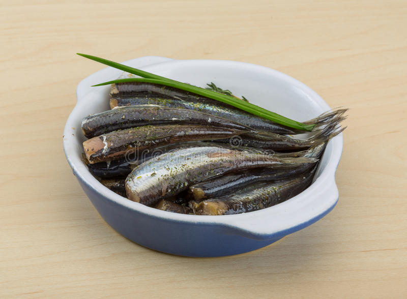 Salted anchovy stock image