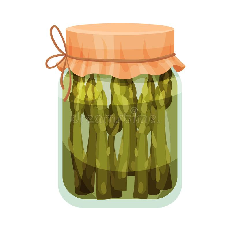 Salted asparagus. Vector illustration on white background. Salted asparagus in a closed glass jar. Vector illustration on white background stock illustration